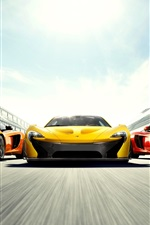 Preview iPhone wallpaper McLaren P1 and MP4-12C supercars, high speed, front view