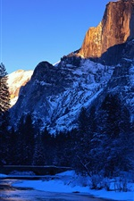 Preview iPhone wallpaper Merced River, Yosemite National Park, California, USA, beautiful winter