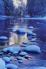 Preview iPhone wallpaper Merced River, snow, winter, Yosemite National Park, California, USA