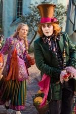 Vorschau des iPhone Hintergrundbilder Mia Wasikowska und Johnny Depp, Alice durch den Spiegel