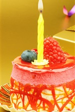 Preview iPhone wallpaper Mini Birthday cake, candle, strawberry, gift