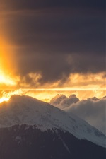 Preview iPhone wallpaper Mountain, clouds, red sky, snow, sunrise