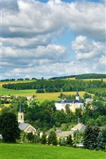 Preview iPhone wallpaper Neuhausen Erzgebirge, Germany, town, trees, field, clouds