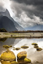 Preview iPhone wallpaper New Zealand beautiful landscape, mountains, clouds, lake, stones