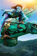Preview iPhone wallpaper Neytiri in Avatar, riding Banshee