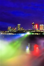 Niagara Falls night view, Canada, colorful light, city