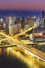Preview iPhone wallpaper Night view Guangzhou, China, buildings, bridge, illumination