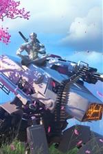 Preview iPhone wallpaper Overwatch, Genji, cherry flowers