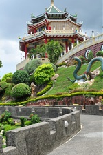 Preview iPhone wallpaper Philippines, Cebu, Taoist Temple, road, trees