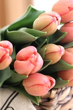 Preview iPhone wallpaper Pink tulips, bouquet, flower buds