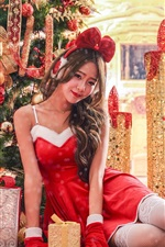 Preview iPhone wallpaper Pretty Asian girl, red dress, smile, Christmas holiday