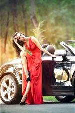 미리보기 iPhone 배경 화면 빨간 드레스의 소녀와 검은 색 아우디 자동차