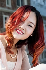 Preview iPhone wallpaper Red haired girl smile