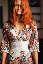 Redhead girl portrait, beautiful dress