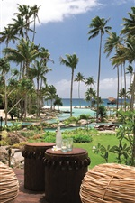 Resort, sea, palm trees, pool, Laucala Island, Fiji