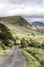 Preview iPhone wallpaper Road, trees, mountains, Lake District National Park, Cumbria, UK