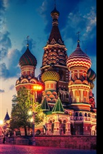 Preview iPhone wallpaper Russia, Moscow city, Red square, Cathedral, Kremlin, night, lights