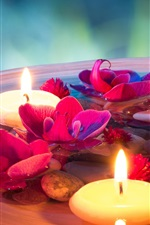 Preview iPhone wallpaper SPA themed, candles, flowers, stones, water