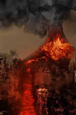 Preview iPhone wallpaper Sakurajima Volcano, Japan, disaster, lava, city destroy, creative design