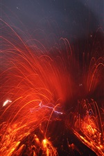Preview iPhone wallpaper Sakurajima Volcano eruption, magma splash, Japan
