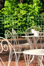 Preview iPhone wallpaper Sankt Petersburg, Summer Garden, Russia, rest area, table, chair