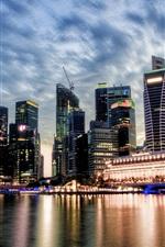 미리보기 iPhone 배경 화면 싱가포르, 도시보기, 일몰, 고층 빌딩, 구름, 강, 물 반사