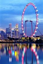Singapore arquitectura da cidade, rio, noites, luzes, reflexão da água
