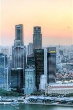 Singapore, skyscrapers, river, roads, sunset