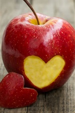 Preview iPhone wallpaper Single red apple, love hearts, wood board