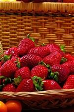 Preview iPhone wallpaper Still life, fruits, strawberries, tomatoes, kumquats, cantaloupe, bananas, grapes
