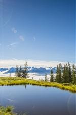 Summer, Austria, lake, grass, trees, sun, blue sky