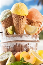 Preview iPhone wallpaper Summer food, ice cream, orange, kiwi, beach