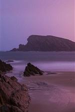 Preview iPhone wallpaper Sunrise beach, near Santander, northern Spain