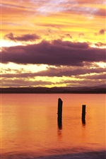 Preview iPhone wallpaper Sunrise, red sky, Bridport, northeastern Tasmania, Australia