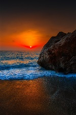 Preview iPhone wallpaper Sunset beach, red sky, clouds, sea, stones, dusk