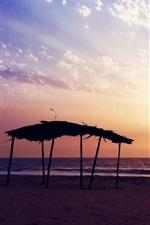 Preview iPhone wallpaper Sunset beach, sea, evening, clouds