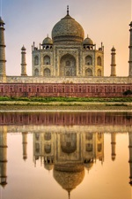 Vorschau des iPhone Hintergrundbilder Taj Mahal, Mausoleum, Fluss, Wasser Reflexion, Indien
