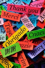 Preview iPhone wallpaper Thanks of different language, colorful paper pieces