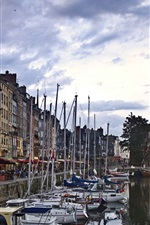 Preview iPhone wallpaper The Vieux Bassin, Honfleur, France, river, boats, dusk, houses