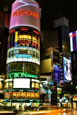 Preview iPhone wallpaper Tokyo, Japan, beautiful city night, buildings, shops, streets, lights