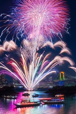 Preview iPhone wallpaper Tokyo, city, fireworks, beautiful night, bay, bridge, illumination, Japan