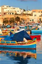 미리보기 iPhone 배경 화면 몰타 여행, 보트, 주택, 바다