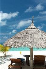 Preview iPhone wallpaper Tropical beach, sand, palm trees, sea, vacation, summer