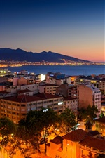 Preview iPhone wallpaper Turkey, Izmir, night, houses, sea, coast, lights
