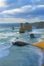 Preview iPhone wallpaper Twelve Apostles, Port Campbell National Park, Victoria, Australia, sea, clouds