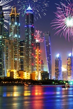 Preview iPhone wallpaper UAE, Dubai, beautiful night, waterfront, skyscrapers, lights, fireworks