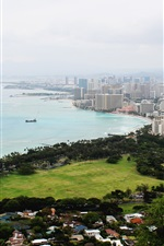 Preview iPhone wallpaper USA, Oahu, Diamond Head, coast, city
