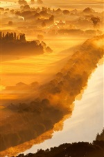 Preview iPhone wallpaper Valley of Yser, Belgium, river, trees, morning, fog, sun rays