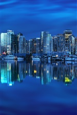 Preview iPhone wallpaper Vancouver, British Columbia, Canada, yacht, bay, reflection, buildings, city night