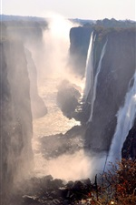 Preview iPhone wallpaper Victoria Falls, Zambia, great waterfalls, fog, autumn